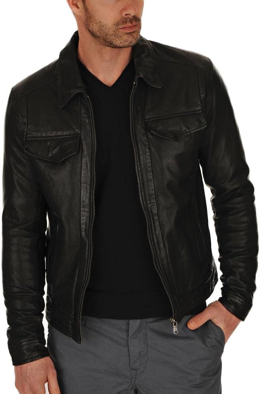 705efe16076 Men Cow Real Leather Jacket Slimfit Slimfit Slimfit Biker Coat C011 2dd2ab