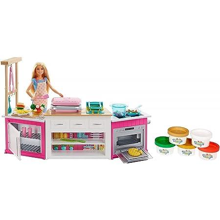 Barbie FRH73 Cucina da Sogno con Bambola, 5 Aree di Gioco, Pasta Modellabile, Luci e Suoni, Giocattolo per Bambini 4 + Anni, Imballaggio Standard