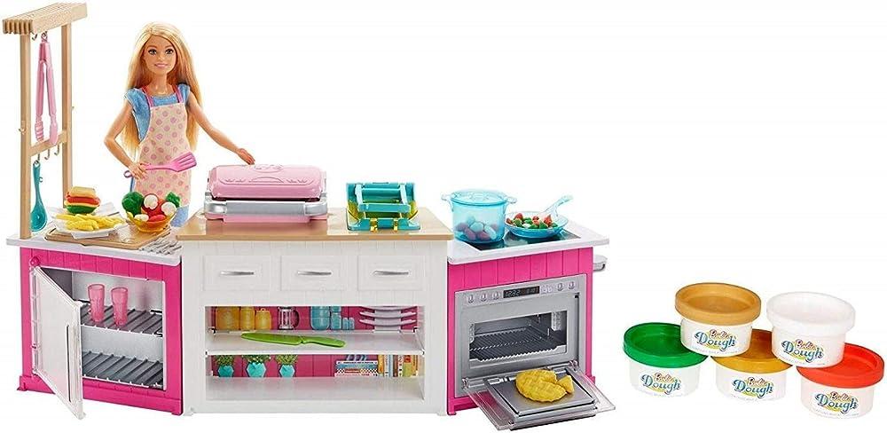 Barbie cucina da sogno con bambola, 5 aree di gioco FRH73