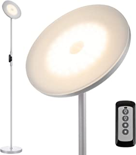 JOOFO Floor Lamp,30W/2400LM Sky LED Modern Torchiere 3 Color Temperatures Super Bright Floor Lamps-Tall Standing Pole Light with Remote Control and Touch Control for Living Room,Bed (Platinum Silver)