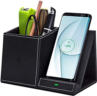 Desk Supplies Organizer, Multi-Functional Pencil Pen Holder with Wireless Charger, Desktop Stationery Organizer, Home Offi...