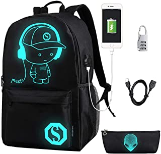 Anime Cartoon Luminous Backpack with USB Charging Port and Anti-theft Lock & Pencil Case, Unisex Fashion College School Bookbag Daypack Travel Laptop Backpack, Black