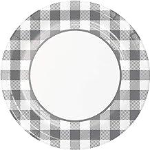 أطباق ورقية ديكور مزرعة بفلو منقوشة رمادي وأبيض أطباق حفل عشاء 22.86 سم قطعة 16