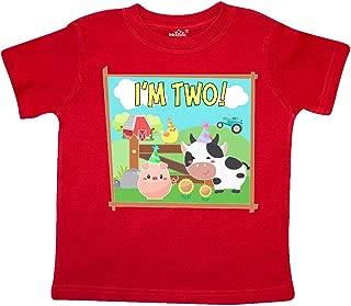 inktastic I'm 2 Farm Animals Wearing Birthday Party Hats Toddler T-Shirt