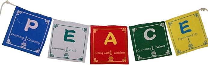 Hands Of Tibet Peace Prayer Flags in English 5 Flags Set 5x5 Inches