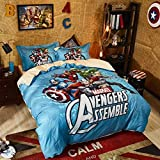 ZHPBHD 3/4 STK The Avengers Anime 3D Print Bettbezug-Set, Mit Kopfkissen Und Bettlaken, Realistisch...