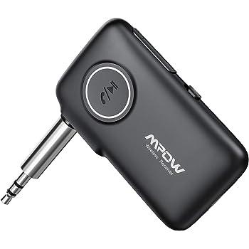 Mpow Récepteur Bluetooth 5.0 Adaptateur Audio sans Fil 16H Autonomie on/Off Bouton Portée 20m Kit Main Libre Voiture Deux Connexions Sortie Stéréo 3.5mm pour Streaming Maison/Kit Auto Voiture
