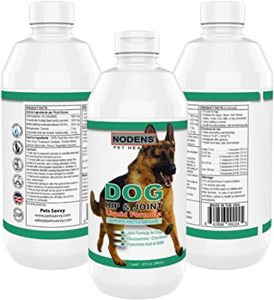 NODENS Dog Hip and Joint - Concentrated Liquid Formula - Glucosamine for Dogs with Chondroitin, Opti-MSM, Hyaluronic Acid for Joint Flexibility and Pain Relief from dog Hip Dysplasia and dog Arthritis