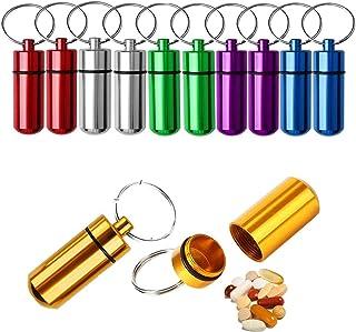 Biluer 12PCS Portapillole Portachiavi Mini Porta-pillole Portatile Pill Box Alluminio Portapillole Medicine Adatto Alla Co...