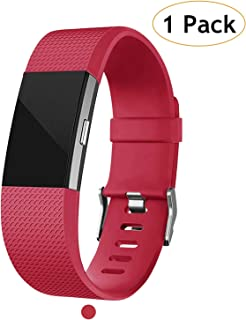 Poshei for Fitbit Charge 2 Bands, Classic Adjustable Replacement Sport Strap Bands for Fitbit Charge 2 Smartwatch Fitness Wristband, Large Small (Red, Large)