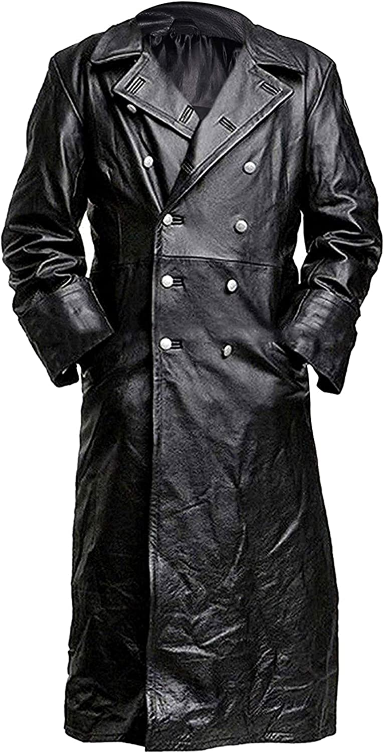 Mens Vintage German Classic WW2 Officer Military Uniform Leather Trench Coat Jacket