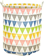 Large Sized Waterproof Foldable Canvas Laundry Hamper Bucket with Handles for Storage Bin Kids Room Home Organizer Nursery Storage Baby Triangle Pattern Colorful
