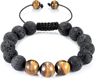 Natural Lava Rock Bracelet for Men Women 8MM Healing Stone Beaded Yoga Charm Bracelets Essential Oil Diffuser Adjustable Jewelry Gift