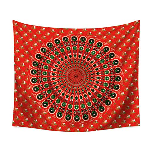 Aienid Tapisserie Wandbehang Blume Rot Tuch Wandtuch Size:150X130CM