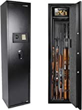 Electronic Rifle Safe with Silent Mode, Quick Access Large Metal Gun Cabinets with 5 Rifle (with/without Scope) Shelves an...