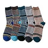DAKIFENEY 5 Pares de Calcetines de Rayas de Colores étnicos para Hombre, Calcetines cálidos de Punto Grueso de Invierno, Calcetines de tripulación-3