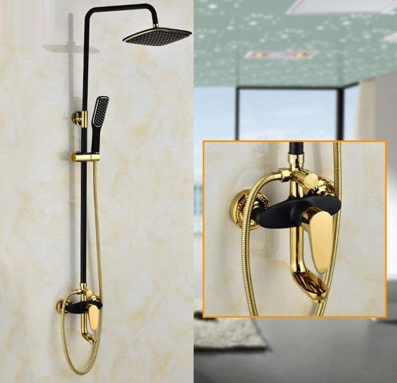 Bath Rooms Shower, Communities Adjustable Waterfall Shower Faucet Brass annihilate rain Power Shower Faucet Set Chrome Plating Black, B