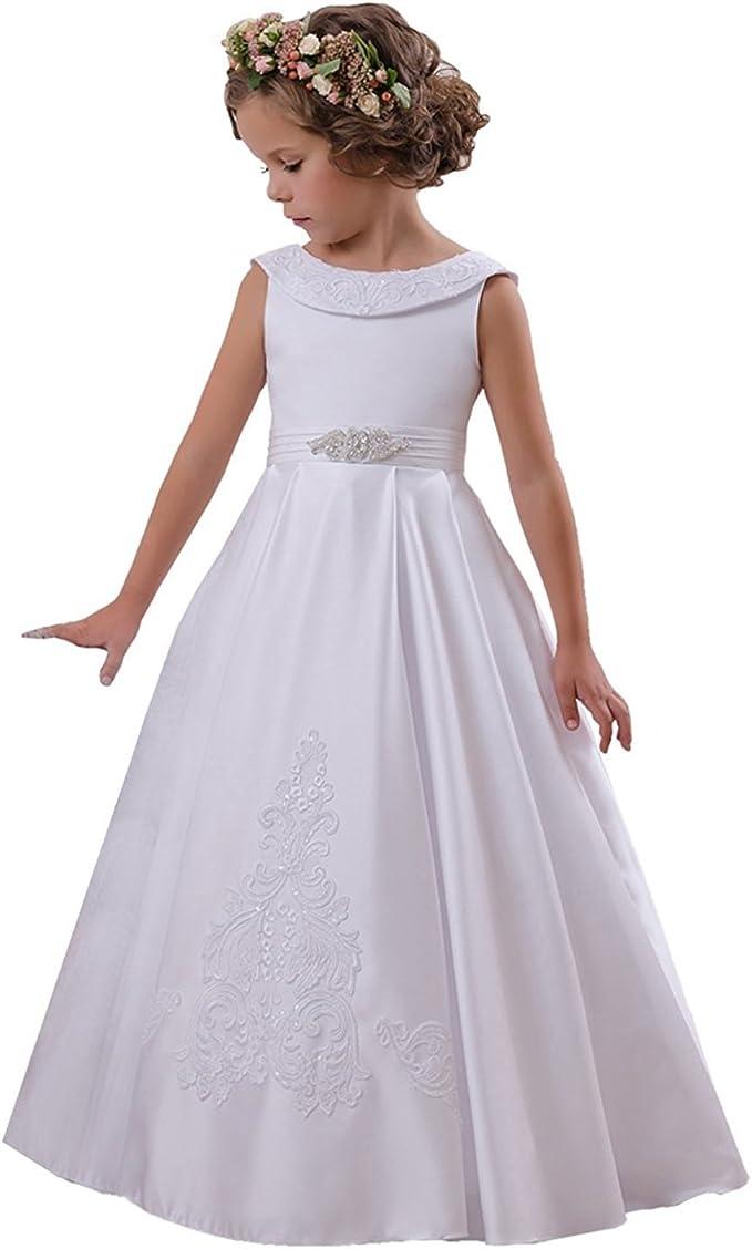 D H D H Satin Blumenmadchen Kleider Kurze Armel Mit Scharpe Madchen Festzug Kommunion Kleider Fur Hochzeit Kleider Amazon De Bekleidung