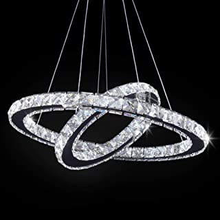 TongLan LED Modern Crystal Chandelier 19.7 x 11.8 inches Ceiling Pendant Light 2 Rings Adjustable Stainless Steel Lighting Fixtures Dining Room Living Room (White)
