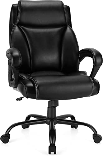 popular Giantex Home Office Chair, 400 LBS High Back Big and Tall wholesale Executive discount Chair, Ergonomic Leather Computer Desk Chair w/Metal Base, Rocking Backrest, Padded Armrest, Height Adjustable Swivel Task Chair sale