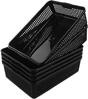 Cadine A4 Plastique Rectangulaire Panier de Rangement, Noir, Ensembles de 6