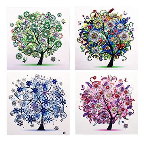 Kit per pittura a mosaico 5D fai da te con diamantini rotondi, per adulti, kit punto croce, 30 x 30 cm Quattro stagioni.