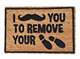 "Rise8 Studios | Funny Outdoor Doormat ""I [Moustache] You To Remove Your Shoes"" 