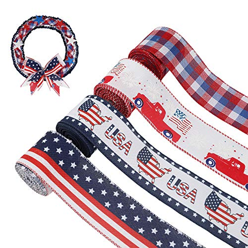 4 Rolls Independence Burlap Ribbons Patriotic Buffalo Wired Edge Ribbons 4th of July Themed Ribbons for DIY Crafts Wreaths Decorations Gift Wrapping 2.5 Inch x 6.5 Yards for Each