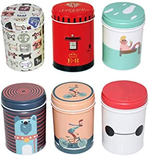 3.55x2.55 Inch Dry Storage Tinplate Caddy Box Retro Double Cover,Storage Container Toothpick Holder,Food Storage,Jewelry Boxes Containers Colorful Tins Round Tea Coffee Tins Set of 6