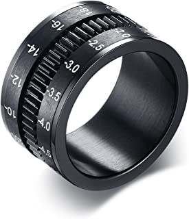 12mm Wide Stainless Steel Black Plated Camera Telephoto Lens Design Novelty Men's Spinner Ring Bands