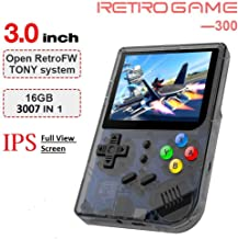 MJKJ Handheld Game Console , RG300 Retro Game Console OpenDingux Tony System , Built-in 3007 Classic Game Console 3 Inch I...