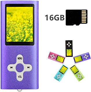 MP3 Player MP4 Player with a 16GB Micro SD Card, Runying Portable Music Player Support up to 64GB, Mini USB Port 1.8 LCD, with Photo Viewer, E-Book Reader, Voice Recorder and FM Radio Video (Purple)