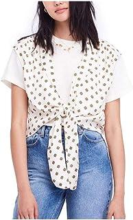 Free People $68 Womens New 1299 Ivory Printed Tie Vest Top XS B+B