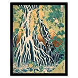 Hokusai Kirifuri Waterfall Mount Kurokami Shimotsuke Art Print Framed Poster Wall Decor 12x16 inch 水 ポスター 壁 デコ