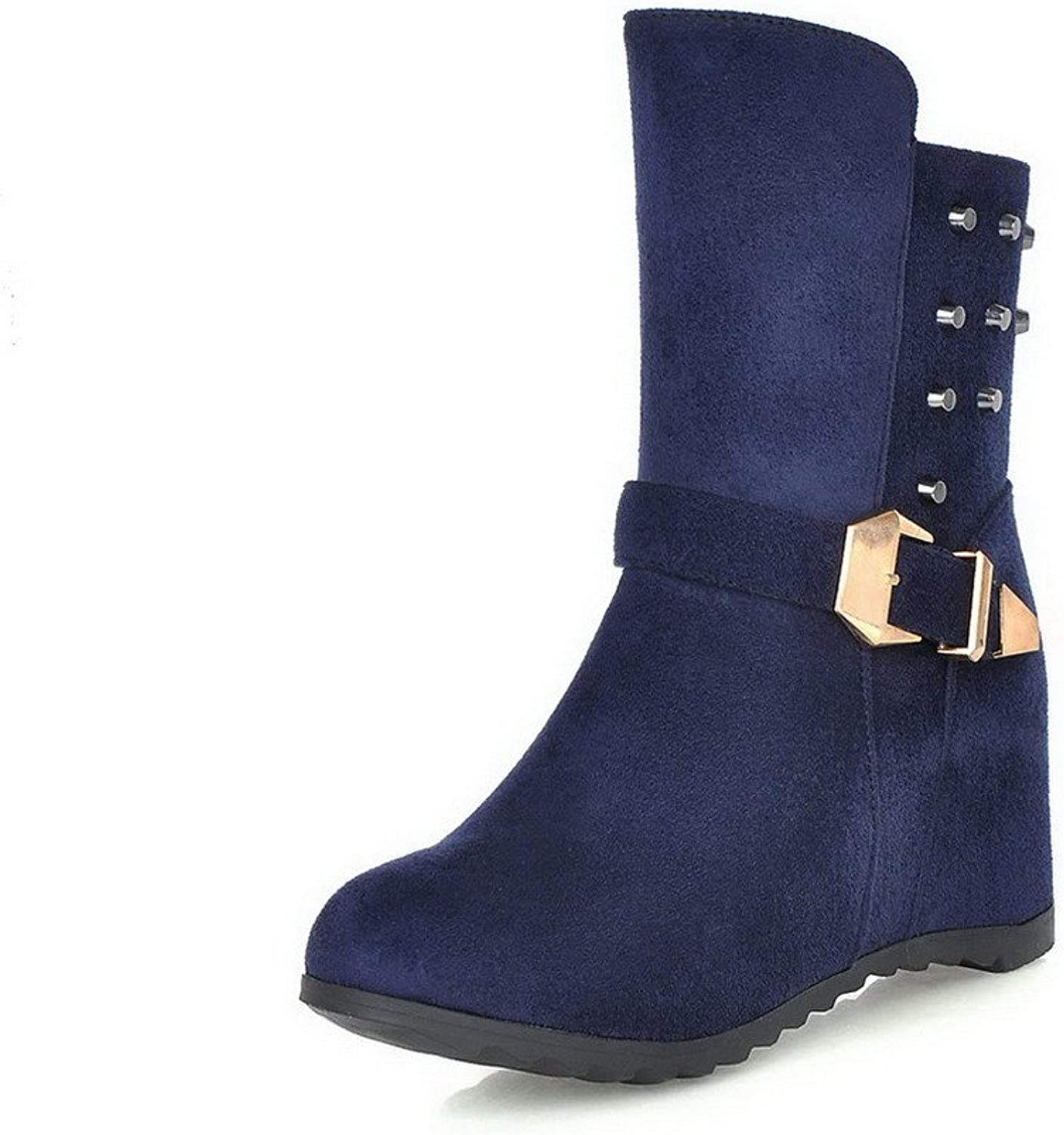 AllhqFashion Women's High-Heels Solid Closed Round Toe Frosted Zipper Boots