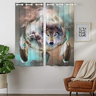 HommomH 24 x 36 inch Curtains (2 Panel) Grommet Top Darkening Blackout Room Wolf Dream Catcher