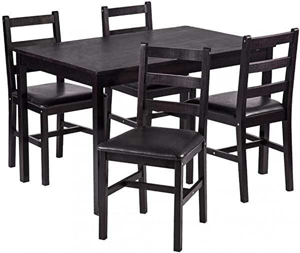 FDW 5PCS Dining Table Set Pine Wood Kitchen Dinette Table With 4 Chairs
