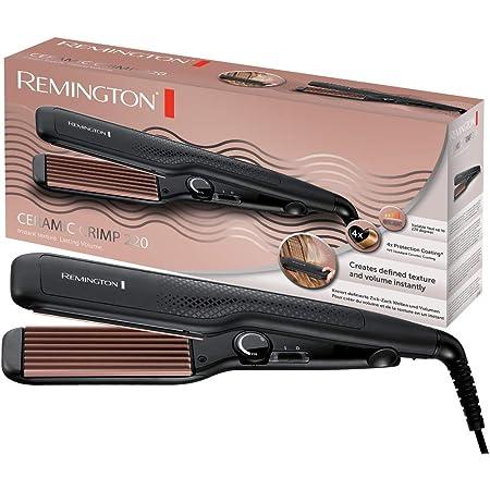 Remington Ceramic Crimp Plancha de Pelo - Cerámica Anti-estática, Turmalina, Placas Anchas, Crea Textura y Volumen, Negro - S3580