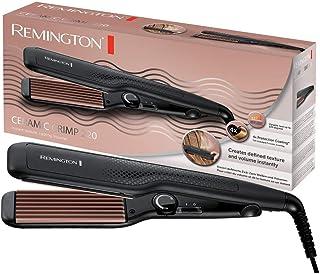 comprar comparacion Remington S3580 Ceramic Crimp - Plancha de Pelo, Cerámica Avanzada, Placas Anchas, Crea Textura y Volumen, Negro