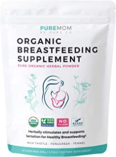 USDA Organic Breastfeeding Supplement (Powder) Increase Milk Supply & Herbal Lactation Support - No Fillers - Aid for Mothers - Non-GMO - Fenugreek Seed, Milk Thistle & Fennel Seed - 60 Grams