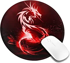 Red Dragon Logo Round Gaming Rubber Base Mouse Pad with Stitches Edges - for PC,Computers,Laptops