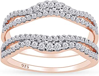 14K Yellow Gold Over Sterling Silver Round Shaped Pink Sapphire /& White Diamond Ladies Anniversary Wedding Band Enhancer Guard Double Ring 1//2 CT KAASHVEE JEWELS 0.50 Carat Ctw