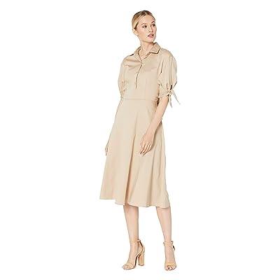 eci Tie Front Long Sleeve Dress w/ Sleeve Detail (Khaki) Women