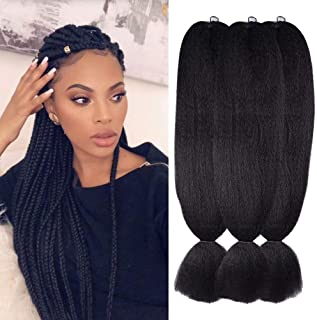 Wome Hair Kanekalon Synthetic Jumbo Braiding Hair 3Pcs/Lot 24inch High Temperature Fiber Crochet Braids Hair Extensions(Natural Black 1b#,24