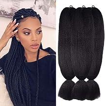 "Wome Kanekalon Synthetic Jumbo Braiding Hair 3Pcs/Lot 24inch High Temperature Fiber Crochet Braids Hair Extensions(Natural Black 1b#,24"",100g/Pcs)"