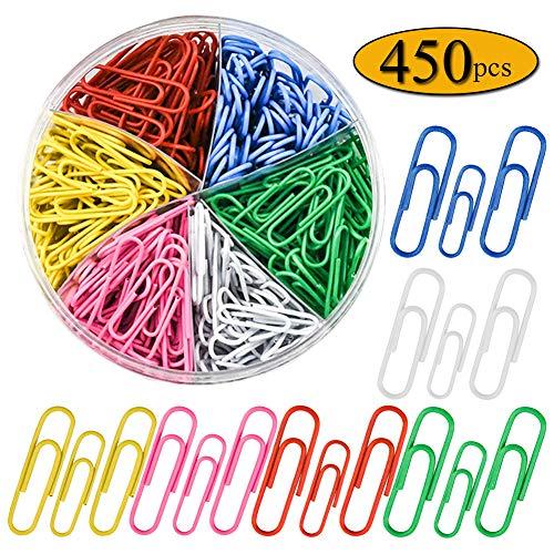 Graffette colorate di dimensioni assortite, 450 pezzi, piccole e grandi (28 mm, 50 mm), in metallo rivestito, dimensioni medie per l'ufficio, la scuola e l'organizzazione di documenti personali