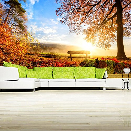 XZCWWH Anpassad 3D väggmålning höst landskap träd lövverk bänk natur tapet vardagsrum soffa tv vägg sovrum 3D tapet, 350 cm (B) x 256 cm (H)