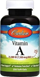 Carlson - Vitamin A, 25000 IU (7500 mcg RAE), Immune Support, Vision Health, Antioxidant, Vitamin A Supplements, 250 Softgels