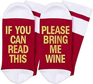 If You Can Read This Please Bring Me Rum Wine Novelty Crew Sock For Womens Gifts