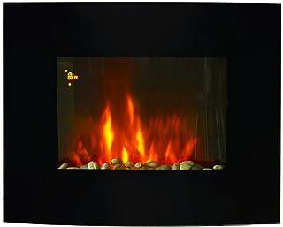 HOMCOM Chimenea Eléctrica Tipo Estufa de Pared con Efecto Llamas y Luz LED de 7 Colores con Mando a distancia 900W/1800W 6...